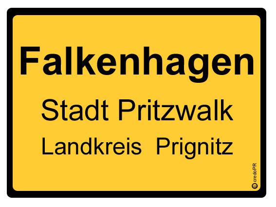 Ortsschild für Pritzwalk_Falkenhagen