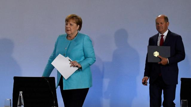 News conference after coalition meetings over stimulus measures in Berlin